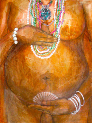 "Goddess with Jewels : 24""x30"""