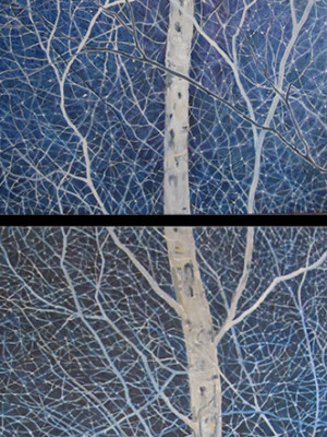 "Winter Birch Dyptich : 30""x48"" each"